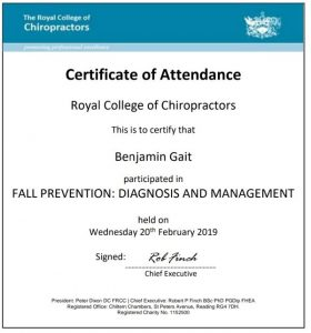 CPD Fall prevention diagnosis and management